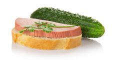 Sandwich With The Sausage, Parsley And Green Stock Image