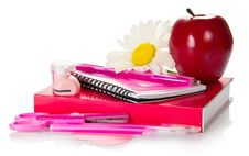 Free School Accessories With Apple And Flower Royalty Free Stock Images - 35162169