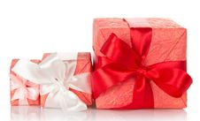 Free Gift Boxes With Beautiful Bows Royalty Free Stock Image - 35162206