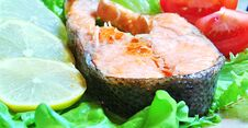Free Fish Dish - Grilled Fish With Vegetables Royalty Free Stock Photography - 35163087