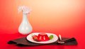 Free Plate Jelly, Spoon, Vase With The Flowers Royalty Free Stock Image - 35174726