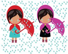 Free Two Girls Under The Umbrella Stock Image - 35170991
