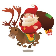 Free Santa Riding Reindeer With Presents Royalty Free Stock Image - 35171226