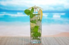 Mojito Cocktail On A Bamboo Cloth Royalty Free Stock Image