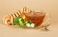 Free Cup Of Tea, Bagels, Linden And Jasmine Flowers Stock Image - 35172271