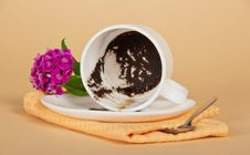 Coffee Thick, In The Overturned Cup Stock Photos