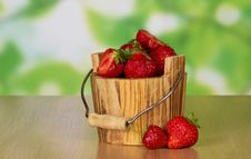 Wooden Bucket Of Ripe Fragrant Strawberry Stock Images