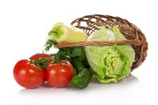 The Cabbage, Cucumbers, Tomatoes In Basket Stock Photography