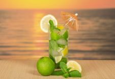 Free Glass About Mojito, Lime And Mint Royalty Free Stock Photo - 35174695