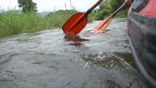 Canoe Rowing In The River Royalty Free Stock Photo