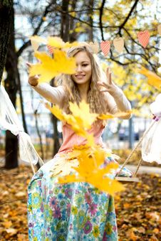 Free Happy Girl Throws Colorful Autumn Leaves Stock Images - 35184764