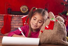 Little Girl At Christmas Time Royalty Free Stock Photo