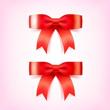 Free Beautiful Christmas Red Bows. Vector Illustration Royalty Free Stock Photo - 35185285