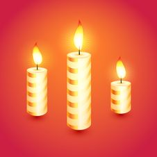 Set Of Candles. Vector Illustration. Stock Photography