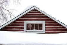 The Peak Of A Log Cabin Royalty Free Stock Photos