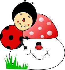 Free Happy Sweet Baby Ladybug Cartoon Royalty Free Stock Photography - 35190217