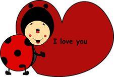 Free Ladybug Cartoon With Heart I Love You Royalty Free Stock Photos - 35190228