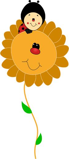 Free Ladybird Cartoon On A Funny Smiling Flower Stock Photo - 35190240