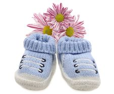 Free Blue Baby Shoes With Flowers Stock Photo - 35192170