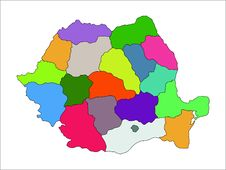 Free Regional Map Of Romania Stock Photography - 35195842