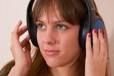 Free Girl Relaxing With Music Wearing Headphones Royalty Free Stock Photo - 3520325