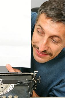 Free Man Looking To Blank Sheet Stock Photography - 3520862