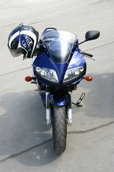 Dark Blue Motorcycle. Stock Photography