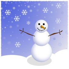 Free Winter Snowman Scene Royalty Free Stock Photo - 3523145