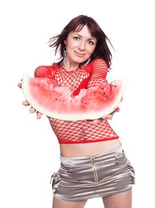 Free The Girl Offers A Water-melon Stock Photos - 3523313