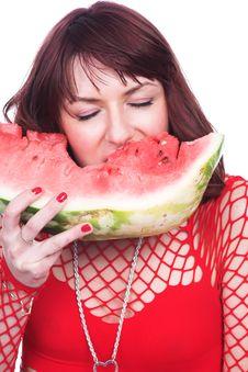Free The Girl Eats A Water-melon Royalty Free Stock Photos - 3523318