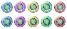 Earth Rollover Buttons Stock Photography