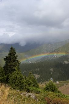 Rainbow Above Mountains Royalty Free Stock Image