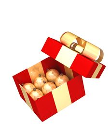 Free Red Gift Box With Gold Balls Royalty Free Stock Images - 3527379