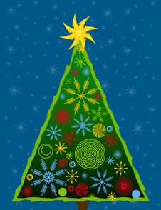 Free Abstract Christmas Tree Card 3 Stock Image - 3528831