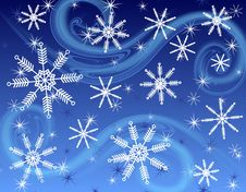 Dark Blue Snowflake Background