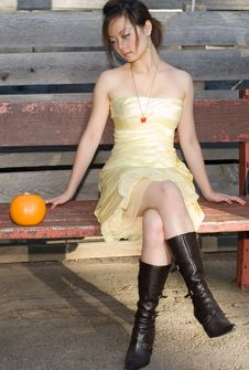 Free Girl Watching Pumpkin Stock Photo - 3529490