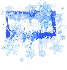 Grunge Frame & Snowflakes Stock Photos