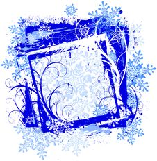 Grunge Frame & Snowflakes Royalty Free Stock Images