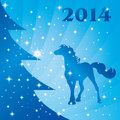 Free Background With Horse Silhouette And Christmas Tree Stock Images - 35203394