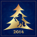 Free Background With Horse Silhouette And Christmas Tree Stock Images - 35203414