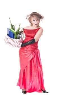 Free Fired Actress With A Box Of Things Express Her Emotions Royalty Free Stock Image - 35200536