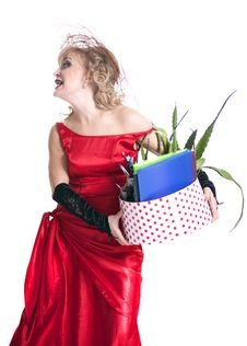 Free Fired Actress With A Box Of Things Express Her Emotions Stock Photos - 35200543