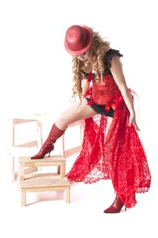 Actress In A Red Dress And Hat Royalty Free Stock Image