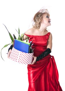Free Fired Actress With A Box Of Things Express Her Emotions Stock Image - 35200591