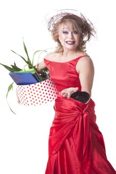 Free Fired Actress With A Box Of Things Express Her Emotions Stock Photo - 35200600