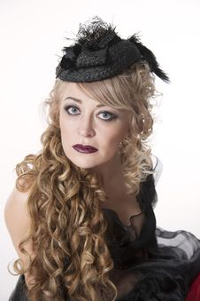 Free Woman With Curly Hair In Pretty Hat Stock Images - 35200614