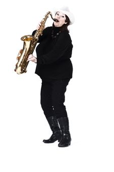 Woman In Black Playing Saxophone. Stock Photography