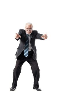 Senior Business Man Pointing To The Straight Royalty Free Stock Image