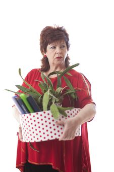 Free Fired Woman Carrying A Box Of Personal Items Stock Images - 35200704