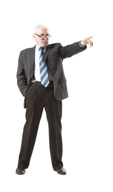 Free Senior Business Man Pointing To The Straight Stock Photo - 35200720